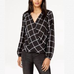 INC BLACK LONG SLEEVES WINDOWPANE SURPLICE BLOUSE
